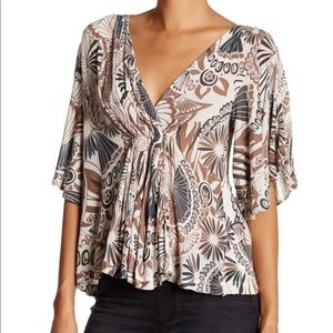 Free People Amour Ivory Printed Bell Sleeve Top